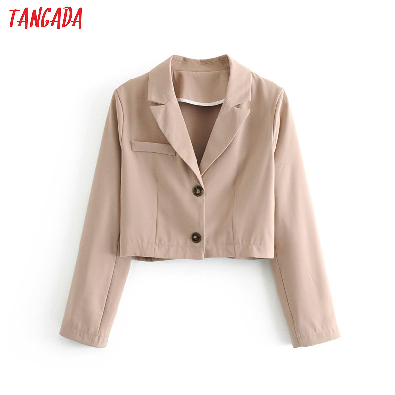 Tangada Women Khaki Short Style Blazer Female Long Sleeve Elegant Jacket Ladies Casual Blazer Suits 1T21