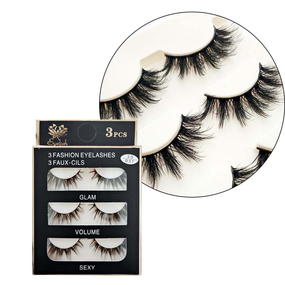 3 Pairs 3D Mink Hair False Eyelashes Criss-cross Wispy Cross Fluffy 12-15mm Lashes Extension Handmade Eye Makeup Tools