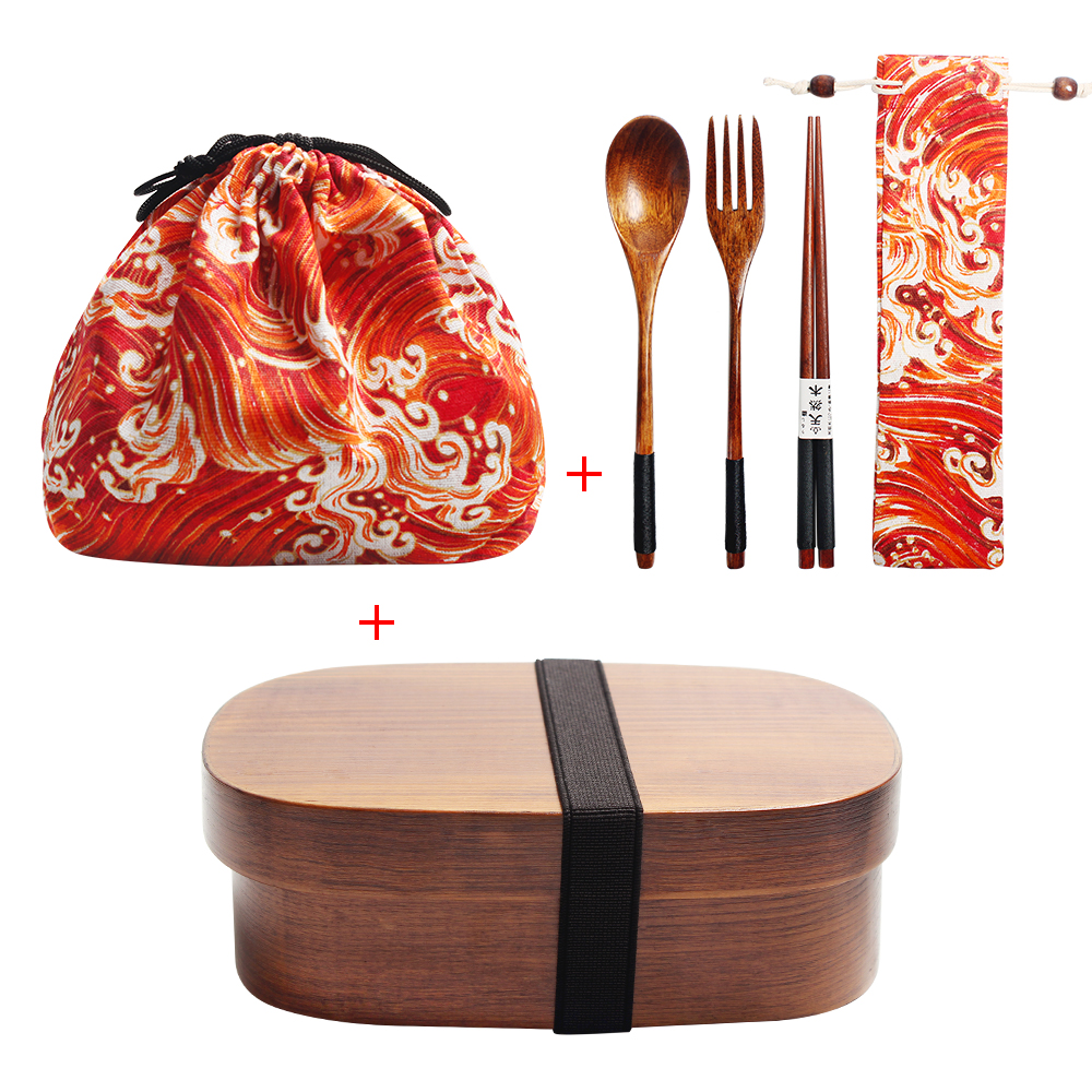Japanese Wooden Lunch Box Kit Children School Bento Box Sushi Container 1Layer 3Grids Lunch Box Containers With Compartments