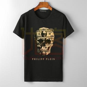 Retro Philip Logo Cotton T Shirt Graphic Unofficial Hip Hop T-shirt Men Novelty Plein Brand Clothing