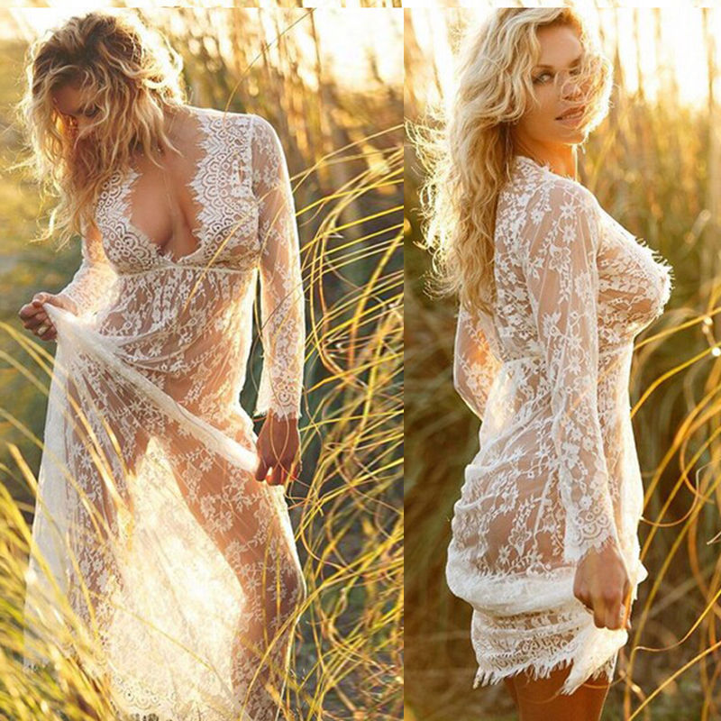 <font><b>Fashion</b></font> Elegant <font><b>Womens</b></font> Swimwear Bikini <font><b>Beach</b></font> Wear Cover Up Ladies <font><b>Summer</b></font> Long <font><b>Dress</b></font> <font><b>Sexy</b></font> image