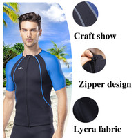 Lycra Fabric Men's Short sleeved Outdoor Surf Clothing High elastic Wetsuit Diving Suit for Men Sunscreen Surf Clothing