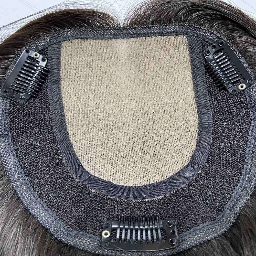 Vlasy 5*5,5 ''pelo humano virgen Topper Base de la peluca de seda superior con Clip en el pelo tupé Remy peluca 150% densidad Color Natural