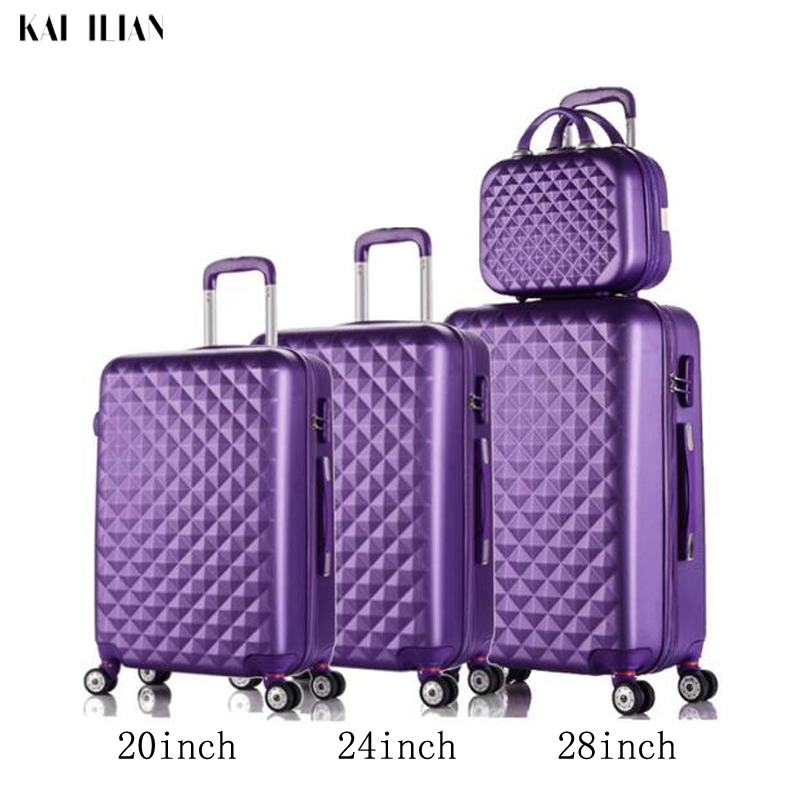 3pcs Luggage Sets Suitcase On Wheels Women Spinner Rolling Luggage ABS Travel Suitcase Set Hardside Trolley Case Free Shipping