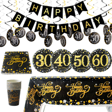 Black Gold Party 30 40 50 60 Happy Birthday Disposable Tableware Decorations Adult 30th Year Supplies