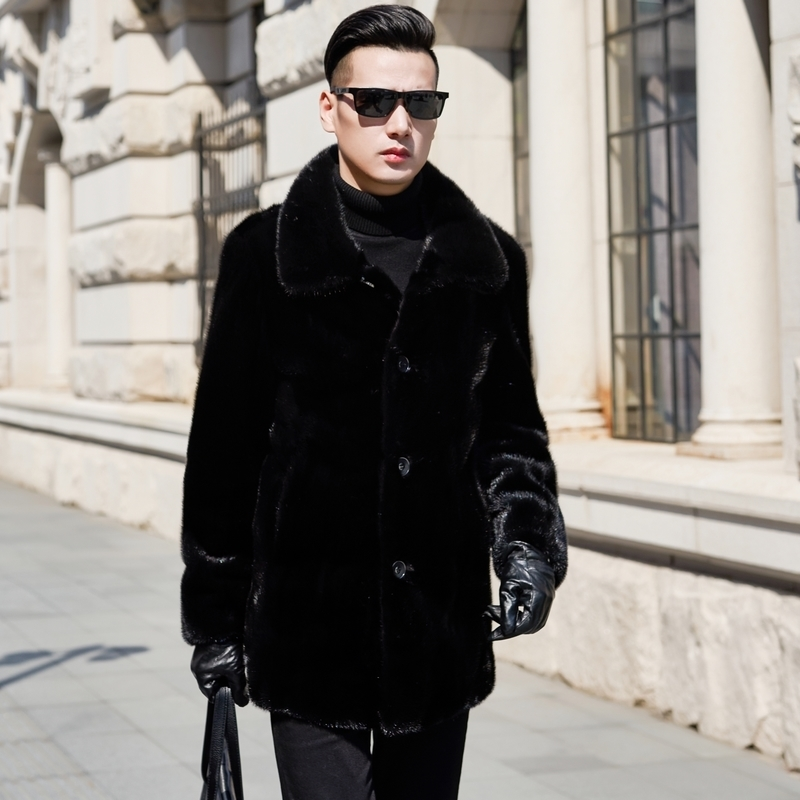 2020 Natural Mink Fur Coat Winter Jacket Men Clothes Mens Real Shearling Warm Outwear Veste Homme N-2 YY652
