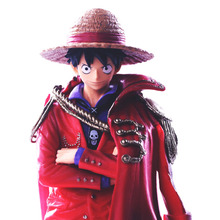Japan Anime One Piece Monkey D Luffy To Wear Red Cloak PVC Action Figure OP Luffy Collectible Model Toy 20th Anniversary 25cm стоимость