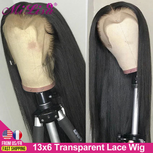 13X6 Lace Front Human Hair Wigs for Black Women Brazilian Remy Hair Straight Lace Front Wig HD Transparent Lace Frontal Wig Long