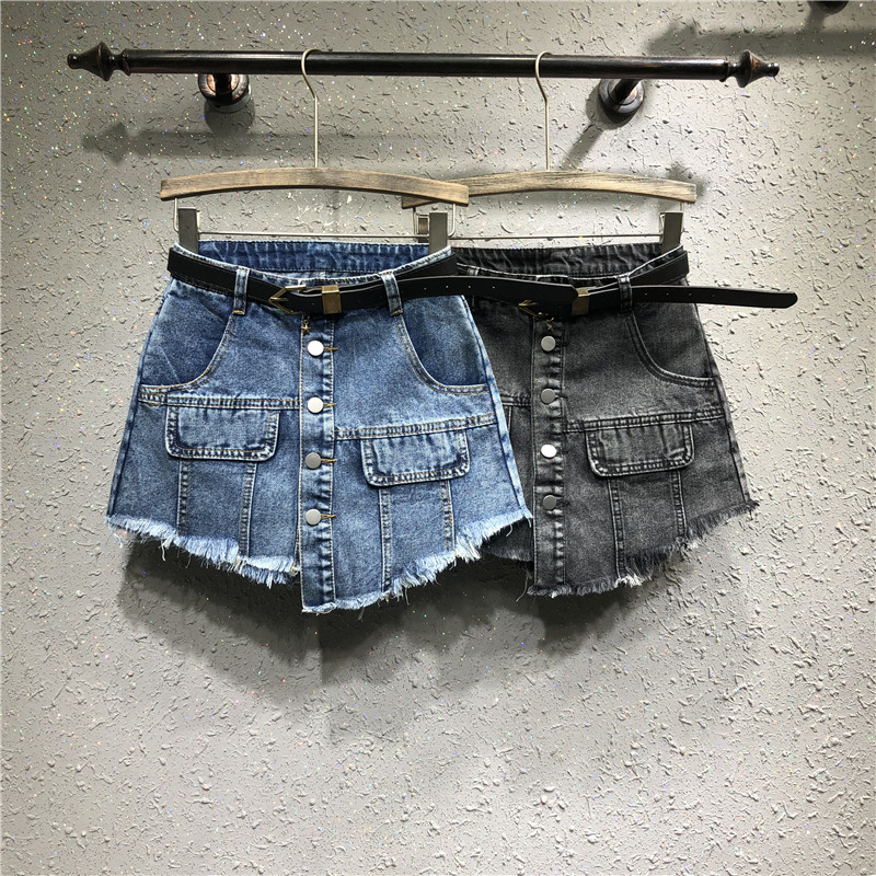 Women's Shorts Summer New Personality Irregular Fake Pocket Edging Front Skirt Back Denim Shorts Skirt Female Tide Denim Shorts