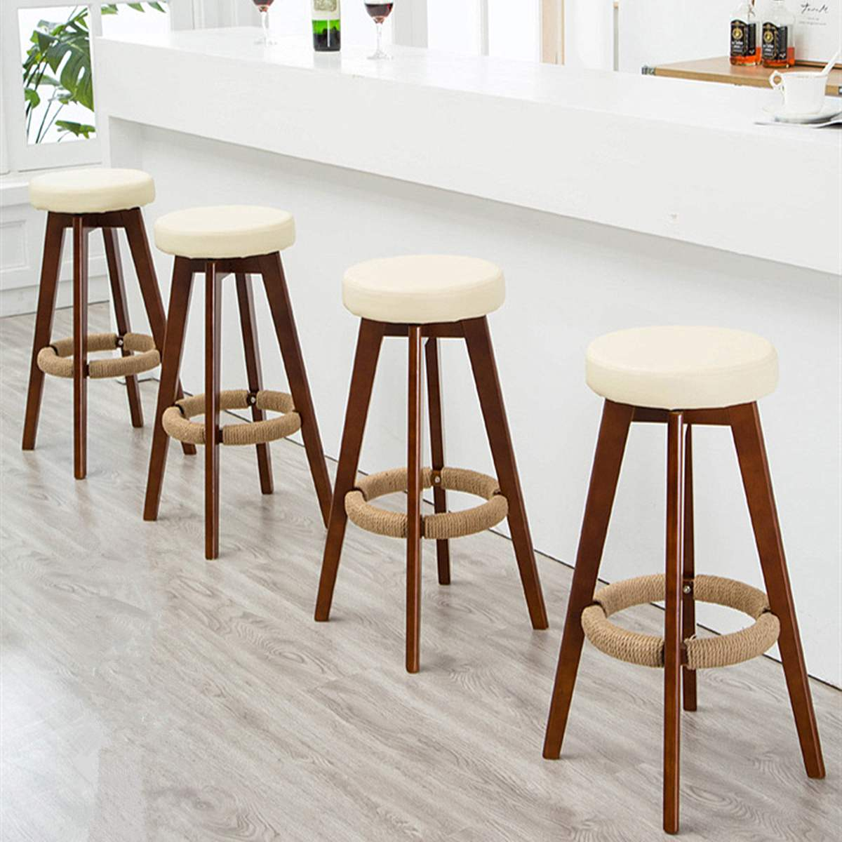 Nordic Swivel Dining Bar Stool Wooden Long Leg PU Chair Industrial Seat Cafe Restaurant Stool Home Bar Furniture 74X48cm