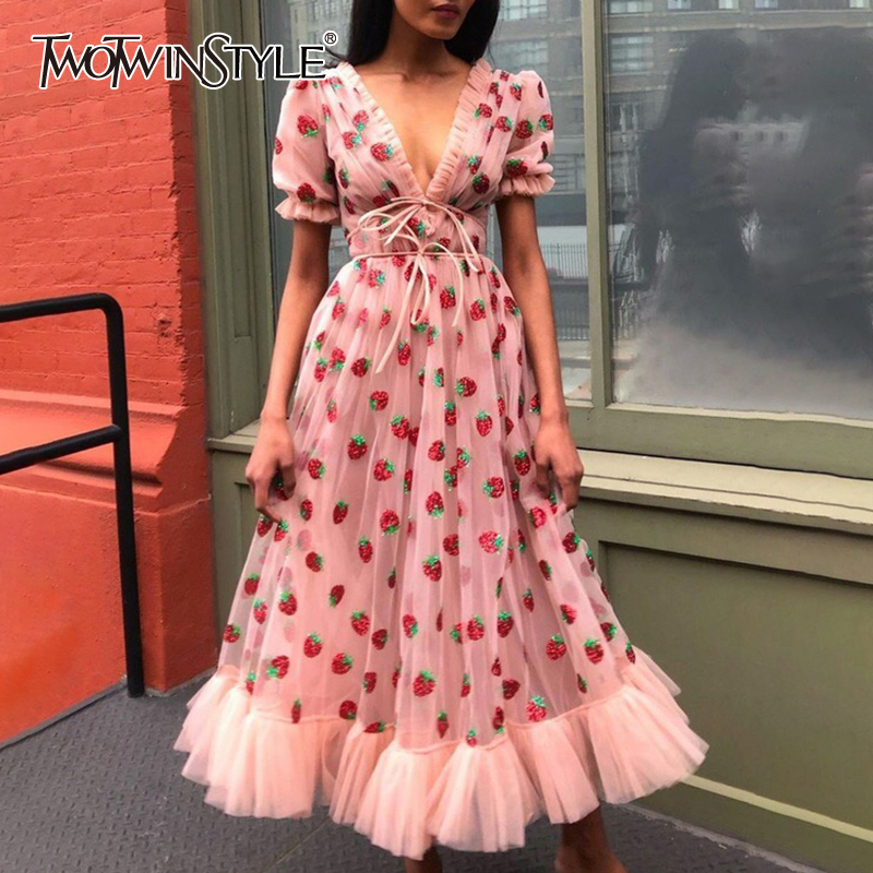 TWOTWINSTYLE Casual Sequined Dress Female V Neck Puff Short Sleeve High Wiast Patchwork Ruffle Hit Color Dresses Female Fashion