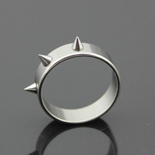 Cool Men Women's Punk Style Silver Tone Stainless Steel Rings Spiked Cone Rivet Rings Gift Safety Outdoor Self Defense Tool(China)