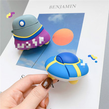 Bluetooth Earphone Case for Airpods Cute Silicone Protective Cover 2 Accessories Keychain Stereoscopic UFO Design