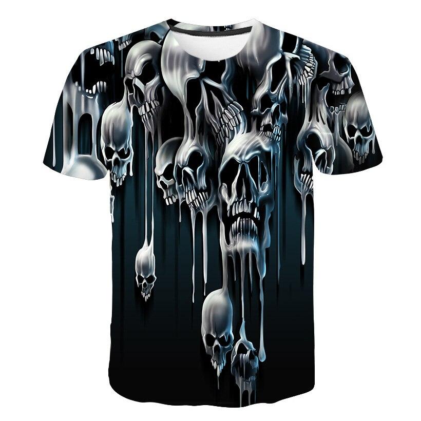 Hauts pour hommes T-shirt hommes à manches courtes hauts mode 3D impression crânes impression hommes Hip hop T-shirt 2019 dernière décontracté respirant Te