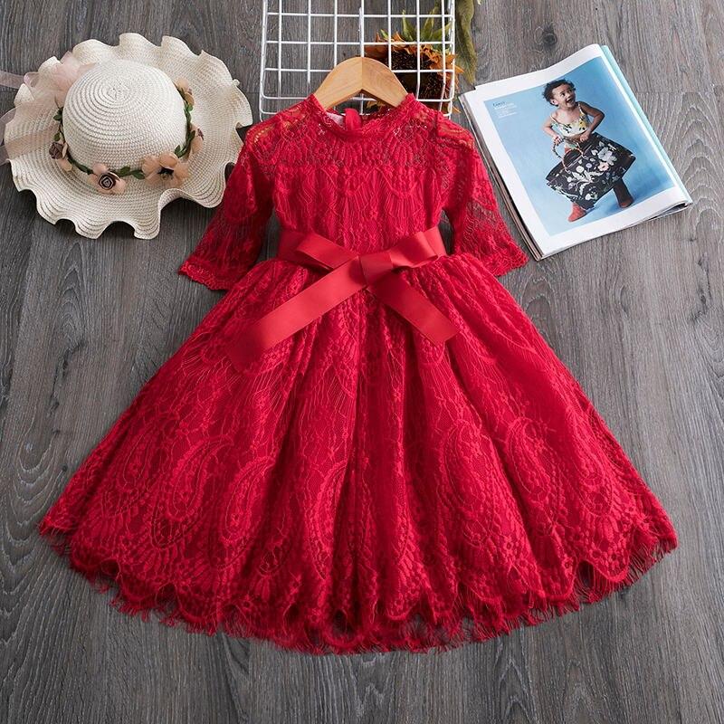 Платья с длинными рукавами для маленьких детей; платье с цветочным рисунком для девочек; вечерние платья-пачки принцессы на свадьбу; одежда для детей; кружевные платья для девочек - Цвет: 4