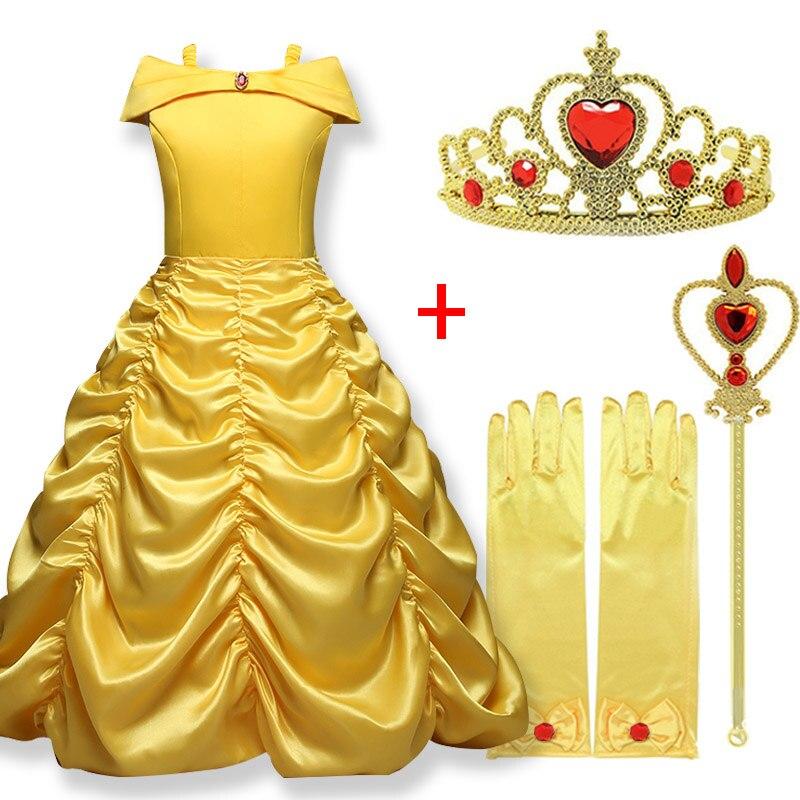 Желтое платье принцессы Белль косплей драпированное платье для девочек Корона волшебная палочка вечерние ское платье для вечеринки Одежда...