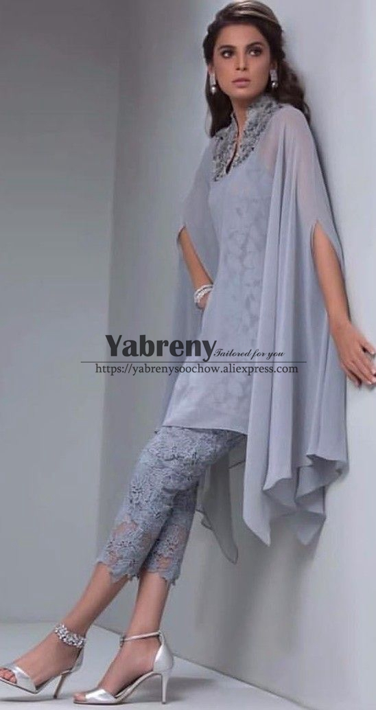 Gray Lace Mother Of The Bride Pant Suits With Overlay