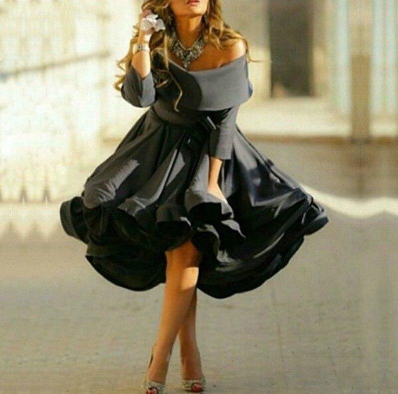 Купить новинка 2020 черное короткое атласное выпускное платье с открытыми