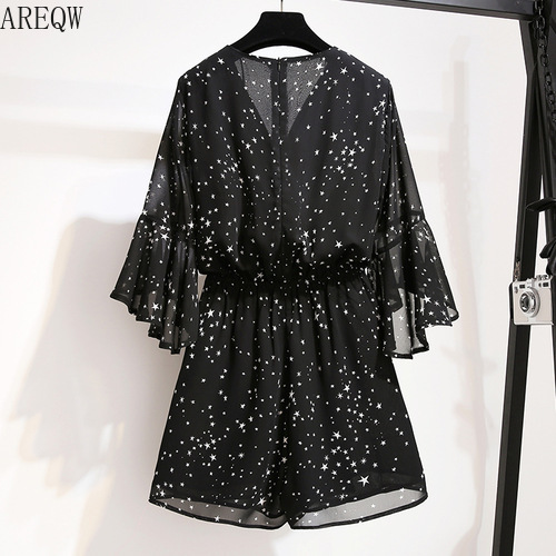 2020 New Woman Short Jumpsuits Star Print V-neck Casual Jumpsuits Rompers High Waist Wide Leg Chiffon Playsuit Black Bodysuit