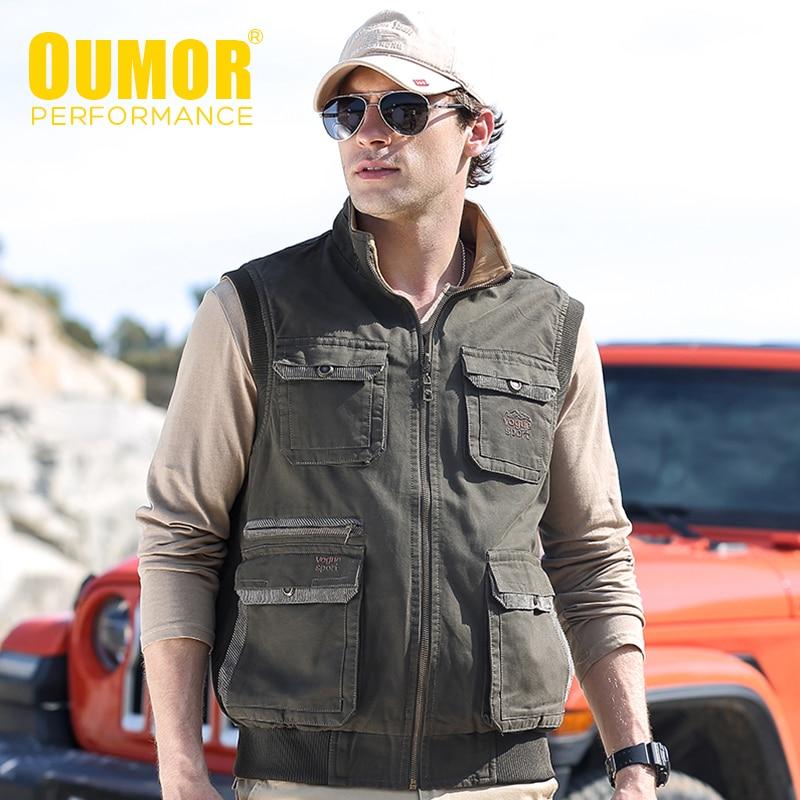 8XL Oumor Men Spring New Outdoor Casual Tactical Fish Cargo Vests Jacket Men Outwear Thick Warm Multi Pocket Jacket Vests Men
