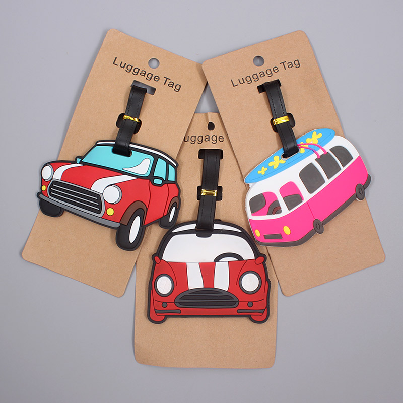 Travel Accessories  Lovely Cars Luggage Tag Silica Gel Suitcase ID Addres Holder Baggage Boarding Tag Portable Label
