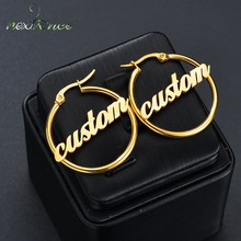 Drop-Earrings Customize Stainless-Steel Namplate-Id Nextvance Personalized-Name Women