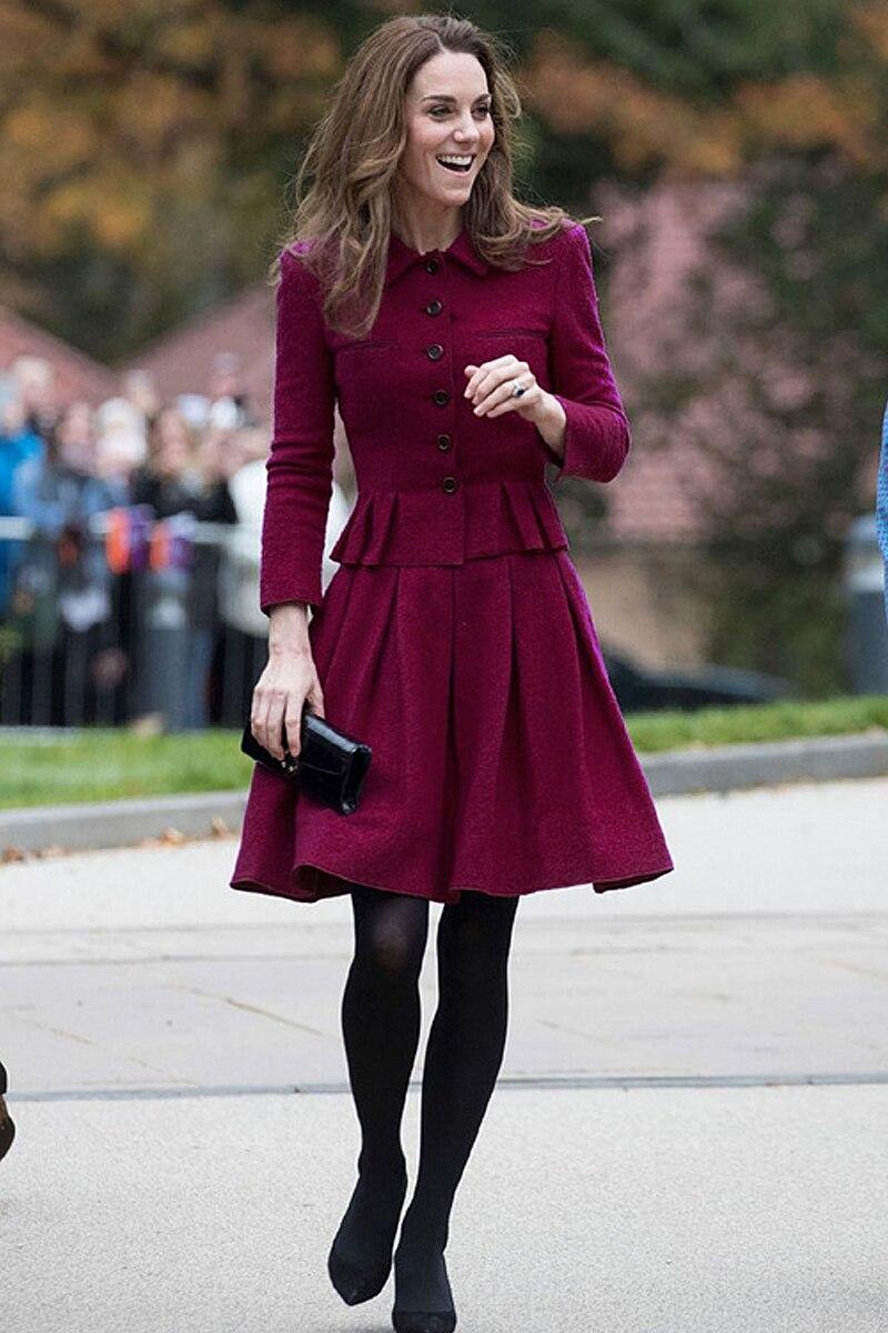 Kate middeton nueva moda de alta calidad de un solo pecho suelta media falda Vintage elegante fiesta de trabajo Casual conjuntos de mujer - 2