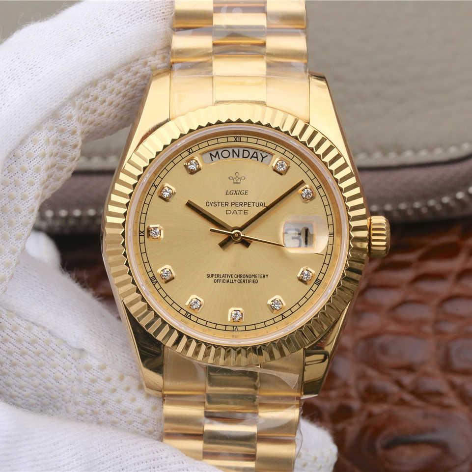 2019 新ファッション腕時計男性ダイヤモンド 40 ミリメートル日本 21 Jeweles 御代田ムーブメントステンレス鋼ゴールド男性用の腕時計 3Bar 腕時計