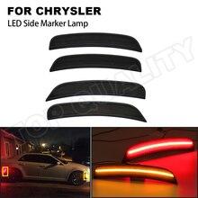 Car Front+Rear LED Side Marker Light Error Free For Chrysler 300C 2015 2016 2017 2018 2019 Amber+Red Turn Signal Fender Lamps