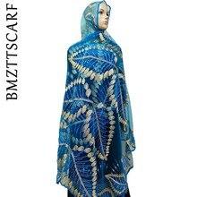BM259! Африканские женские шарфики, новинка, мусульманский женский шарф из тюли с вышивкой, стразы, красивый большой шарф для шалей