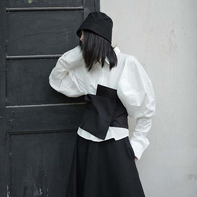 [EAM]  Black Elegant Irregular Split Joint Long Wide Belt Personality Women New Fashion Tide All-match Spring 2020 1U733