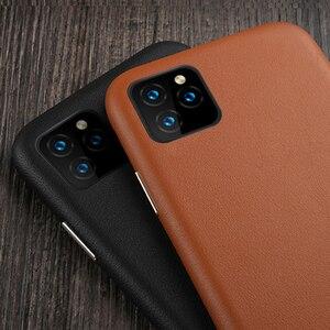 Image 2 - Luksusowy Vintage miękki skórzany futerał dla iPhone 7 8 Plus X XR XS MAX metalowy przycisk głośności dla iPhone 11 11Pro MAX obudowa tylna