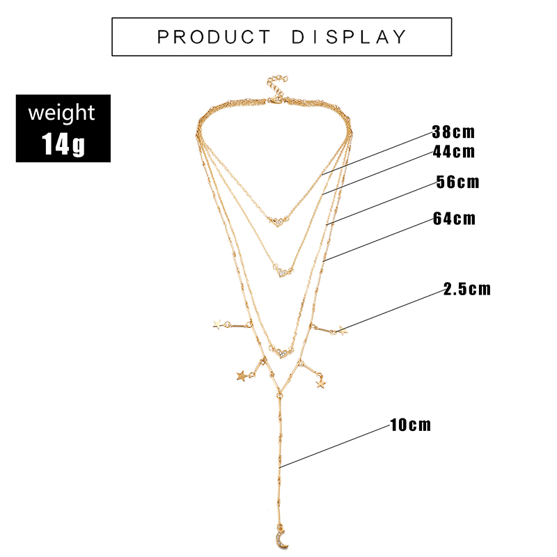 HuaTang Star Moon Pendant Necklace Boho Geometric Crystal Layered Necklaces for Women Girl Waterdrop Opal Collar Choker Jewelry 25