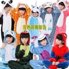 Pajamas Sleepwear Jumpsuit Nightgown One-Piece Kids Children Cute Cartoon Unisex Hooded
