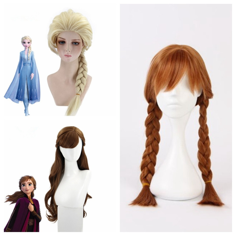2019 new Anime cosplay Frozen 2 Anna Elsa Princess role wig Halloween makeup party clothing accessories COS Adult child wig