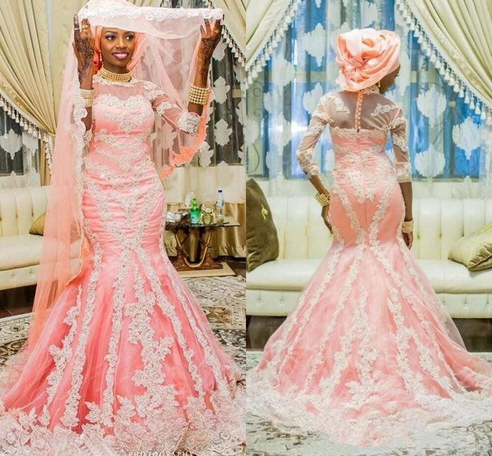 Pink Blush Lace African Muslim Mermaid Wedding Dresses With Half Sleeve Appliqued Nigerian Bridal Gown 2020 Covered With Buttons