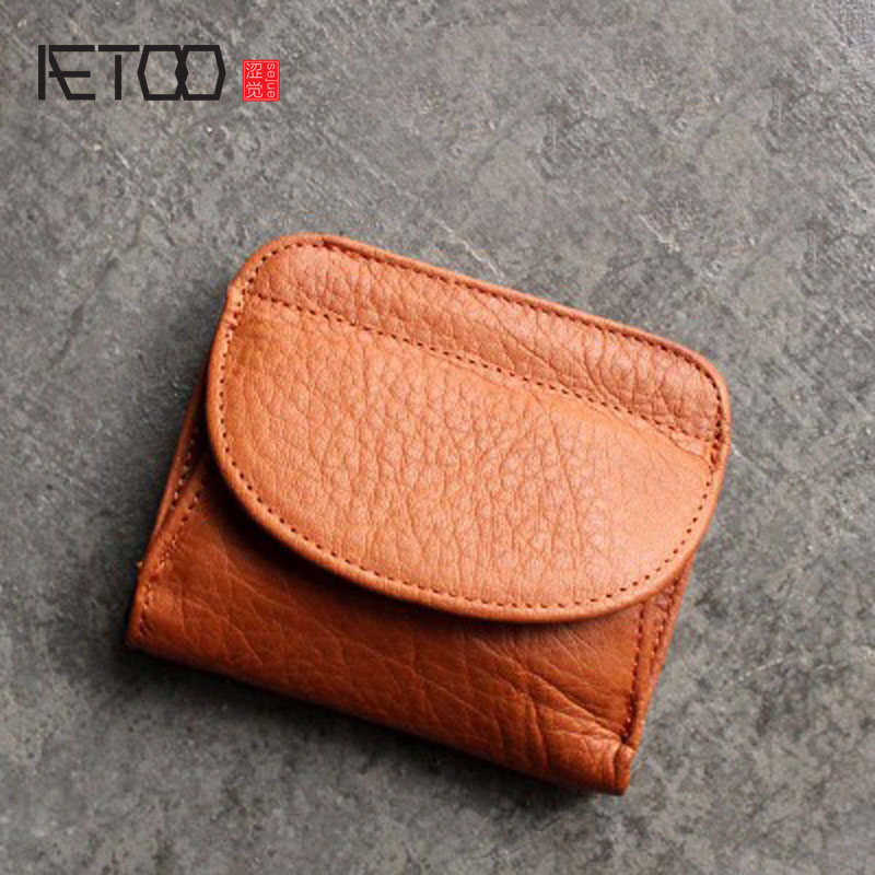 AETOO Shell leather wallet female short paragraph first layer of leather mini buckle coin coin bag Japan and South Korea cute li