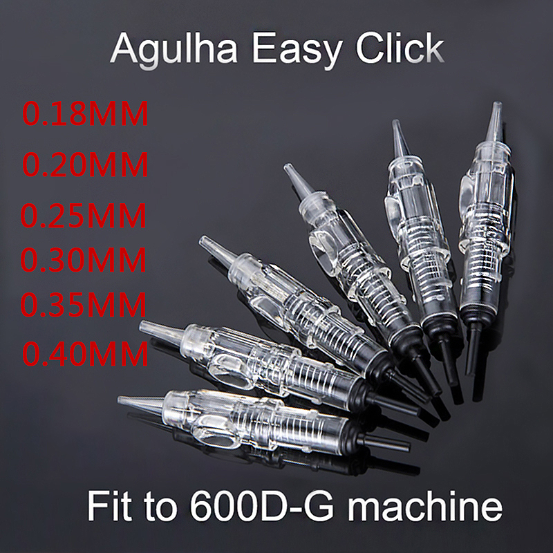 50pcs Easy Click Tattoo Needle 0.18/0.2/0.25/0.3/0.35/0.4MM 1RL Permanent Makeup Cartridge Tip 600D-G For Eyebrow Tattoo Machine