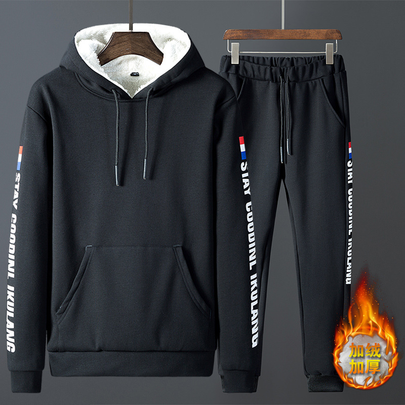 Winter 2019 Men's Casual Thick Hooded Clothing Set Men Clothing Set Simple Design Size M To 4XL J9557-773311-G