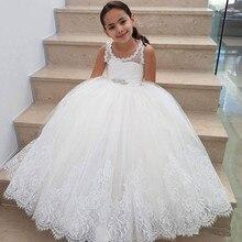 Elegant White Lace Baby Girls Wedding Dresss Flower Girl Dress Communication Dresses 2021