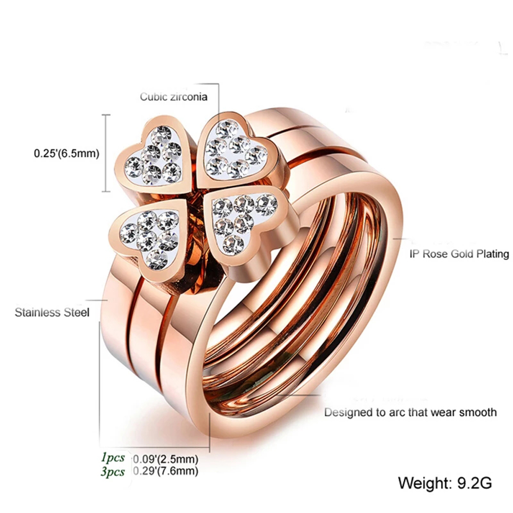 316L Stainless Steel Jewelry Unique 3in1 Heart Rings For Women Surgical Steel Nickle Free CZ Crystal Flower rings 4