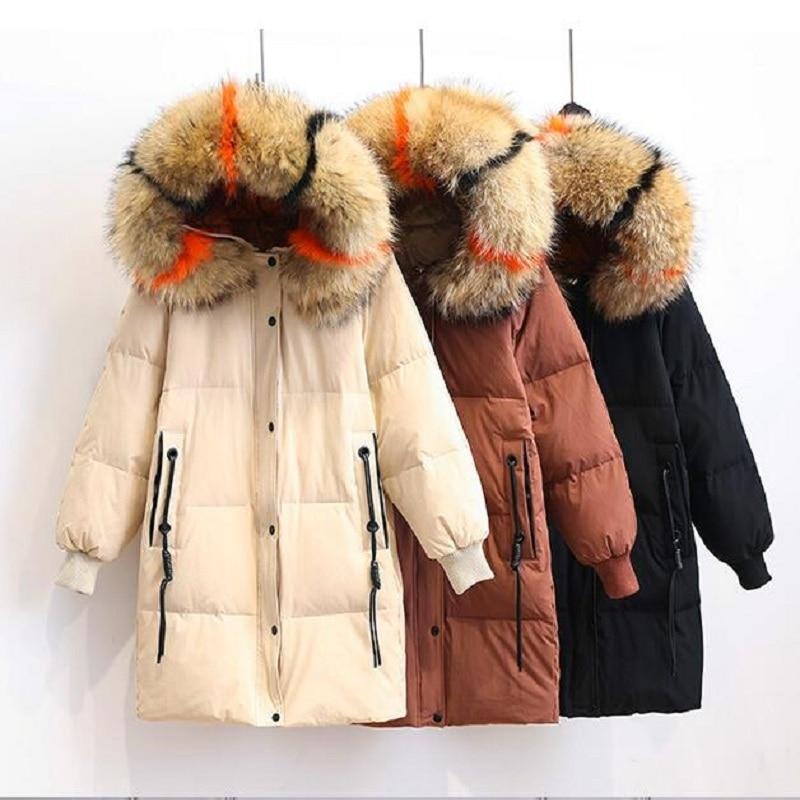 Down Size Plus Coat Woman Long Duck Down Jacket Women Winter Multicolor Racoon Fur Collar Parka Casacas Para Mujer KJ449