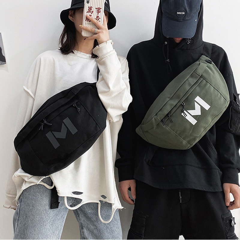 Large Capacity Waist Bag Unisex Street Hip Hop Fanny Pack Chest Bag Trend Canvas Crossbody Bags Multifunction Banana Waist Pack