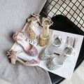 Baby Mädchen Schuhe Prinzessin Mode Pailletten Niedrigen Ferse Sommer Mädchen Sandalen Nette Bowknot Kinder Mädchen Partei Schuhe größe 26- 35 SMG077