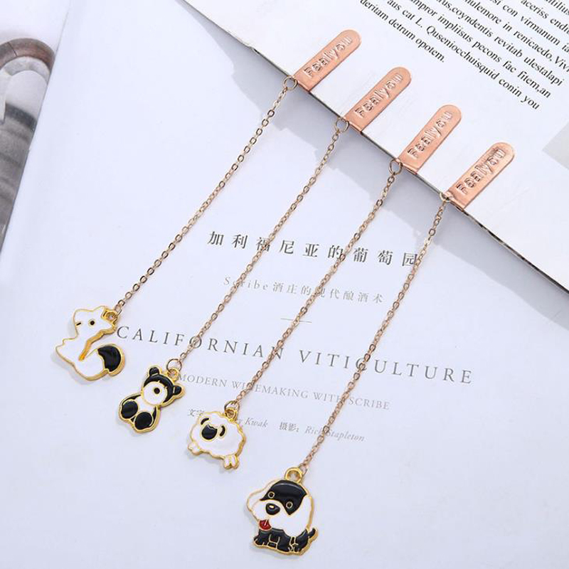 1 Pcs Kawaii Animal Bear Dog Sheep Squirrel Metal Pendant Bookmarks Book Marker Page Holders School Office Student Stationery