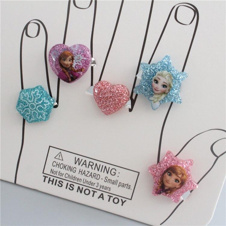 Disney Children's Cartoon Accessories Mickey Ring Toy Frozen Princess Elsa Anna Adjustable Size Ring
