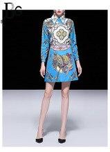 Baogarret Designer Summer luxury Beading Skirt Suit Womens Long Sleeve Blouse + Mini Skirts Vintage Blue Printed Two Piece Set