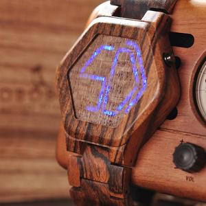 Image 3 - BOBO BIRD Luxury Brand Designe Digital Watch Men Night Vision Bamboo Watch Mini LED Watches Unique Time Display Gifts for Him