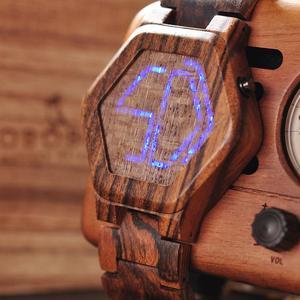 Image 3 - BOBO BIRD montre numérique pour hommes, Vision nocturne, en bambou, Mini montre de luxe, montres LED, affichage Unique, cadeaux