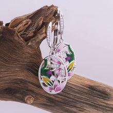 Женские винтажные серьги подвески с цветком лотоса эмалированные